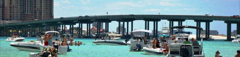 Crab island in Destin Florida boating paddelboard pontoon rentals